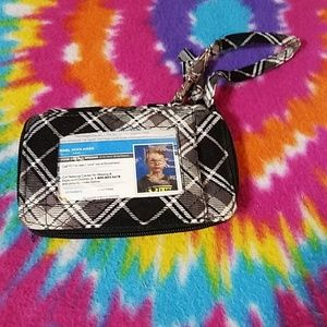 Black and white plaid wristlet